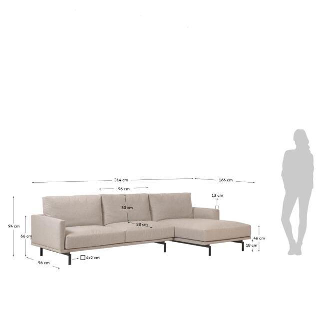 Kave Home 4-zits Loungebank 'Galene' Rechts