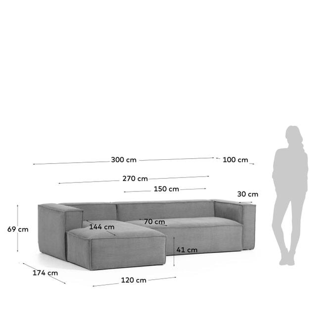 Kave Home Loungebank 'Blok' Rib, Links 300cm