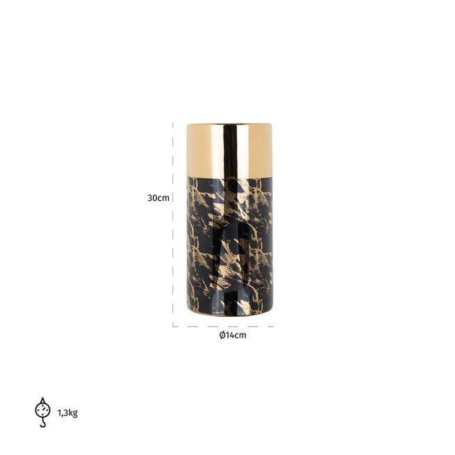 Richmond Vaas 'Ayleen' 30cm, kleur zwart / goud
