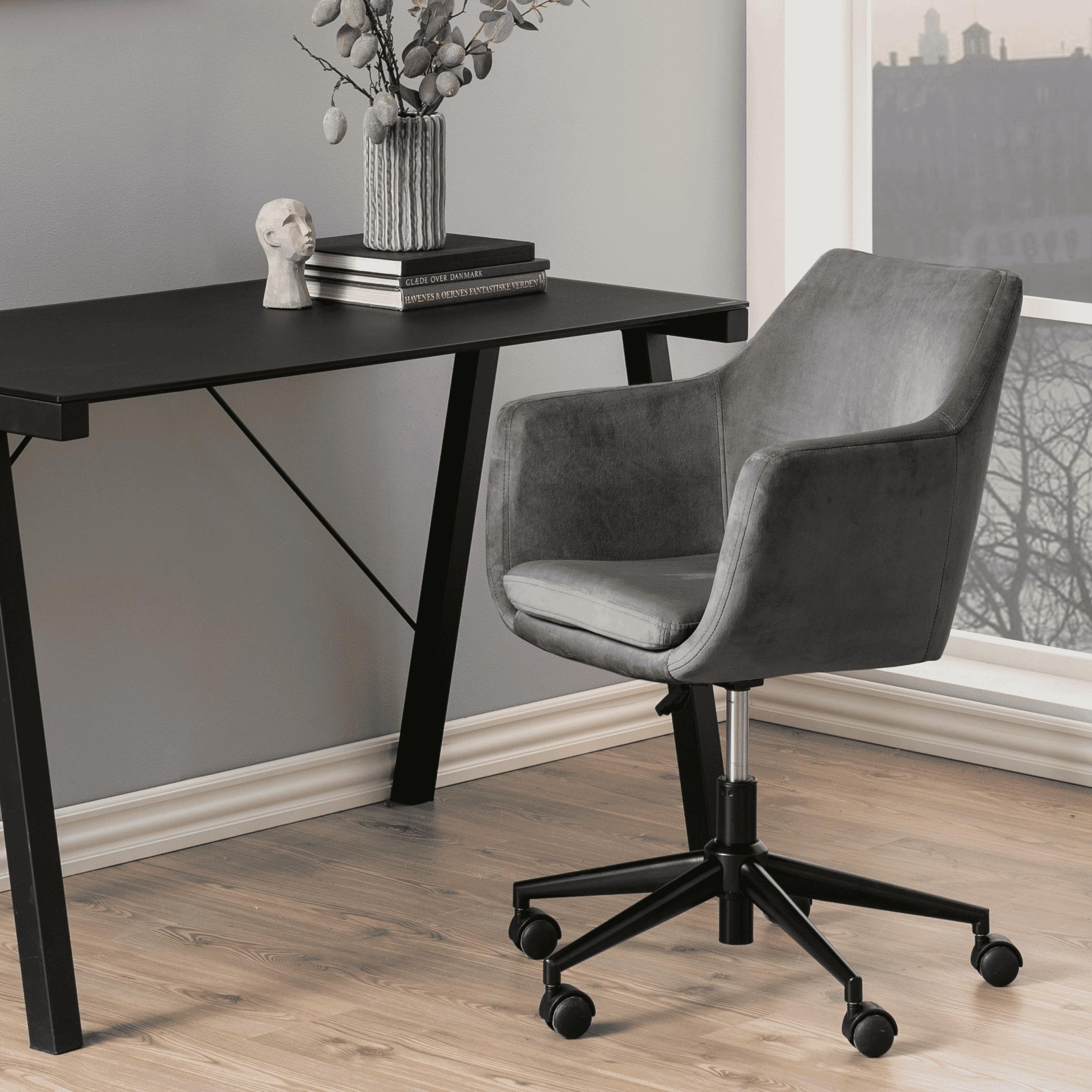 Bendt Bureaustoel 'Rikke' Velvet, kleur Donkergrijs