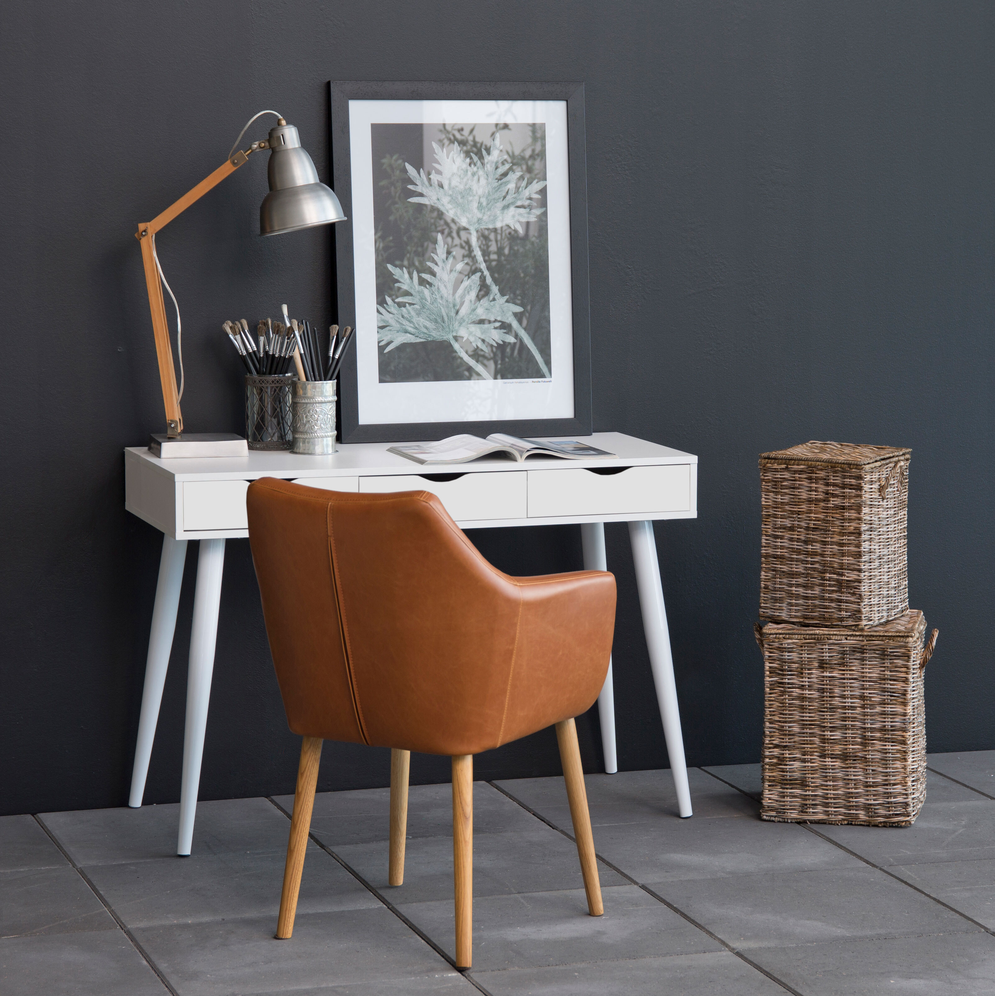 Bureau - sidetable 'Märta' 110 x 50cm met 3 laden , kleur wit - wit