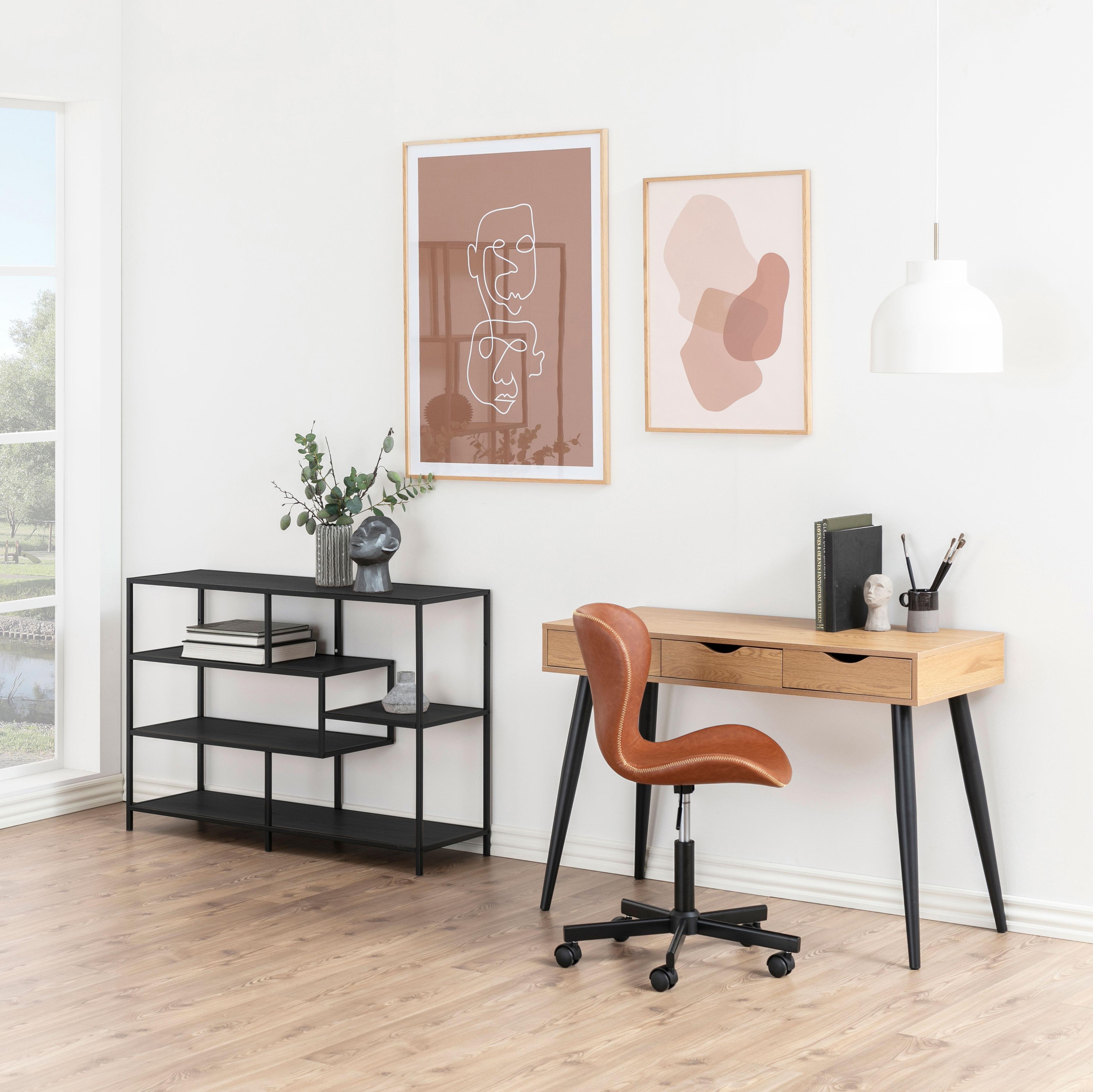 Bureau - Sidetable 'Märta' 110 x 50cm, kleur zwart - eiken