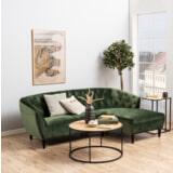 Bendt Loungebank 'Loes' Rechts, Velvet 2-zits, kleur Forest Green