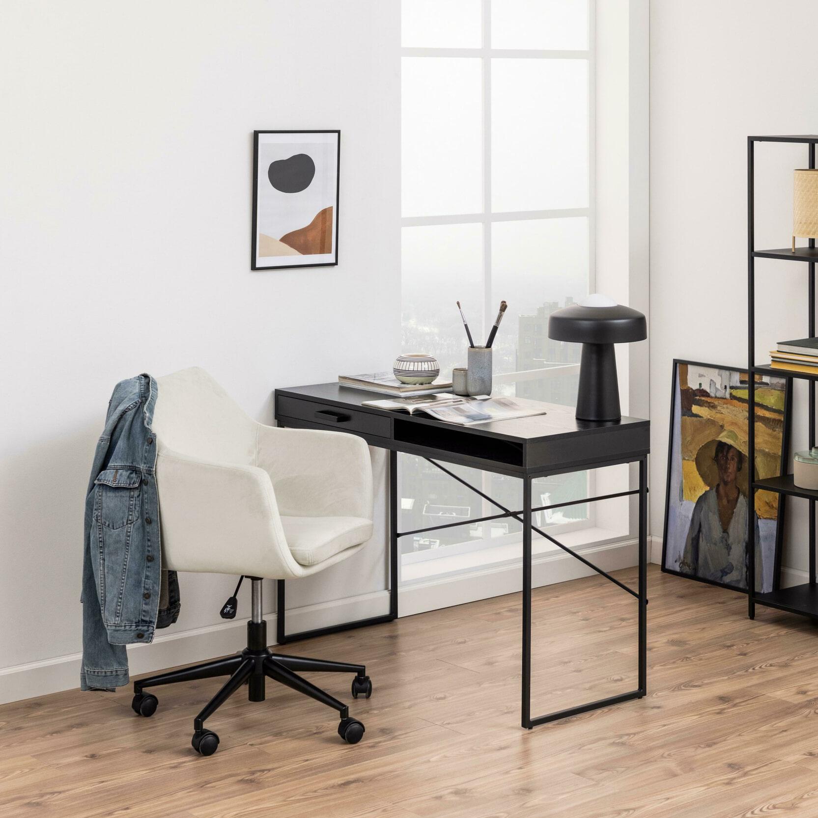 Bendt Bureaustoel 'Rikke' Velvet, kleur Zand