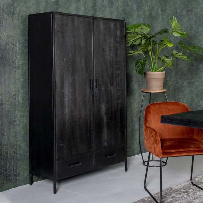 LivingFurn Opbergkast 'Kala' Mangohout en staal, 170 x 100cm