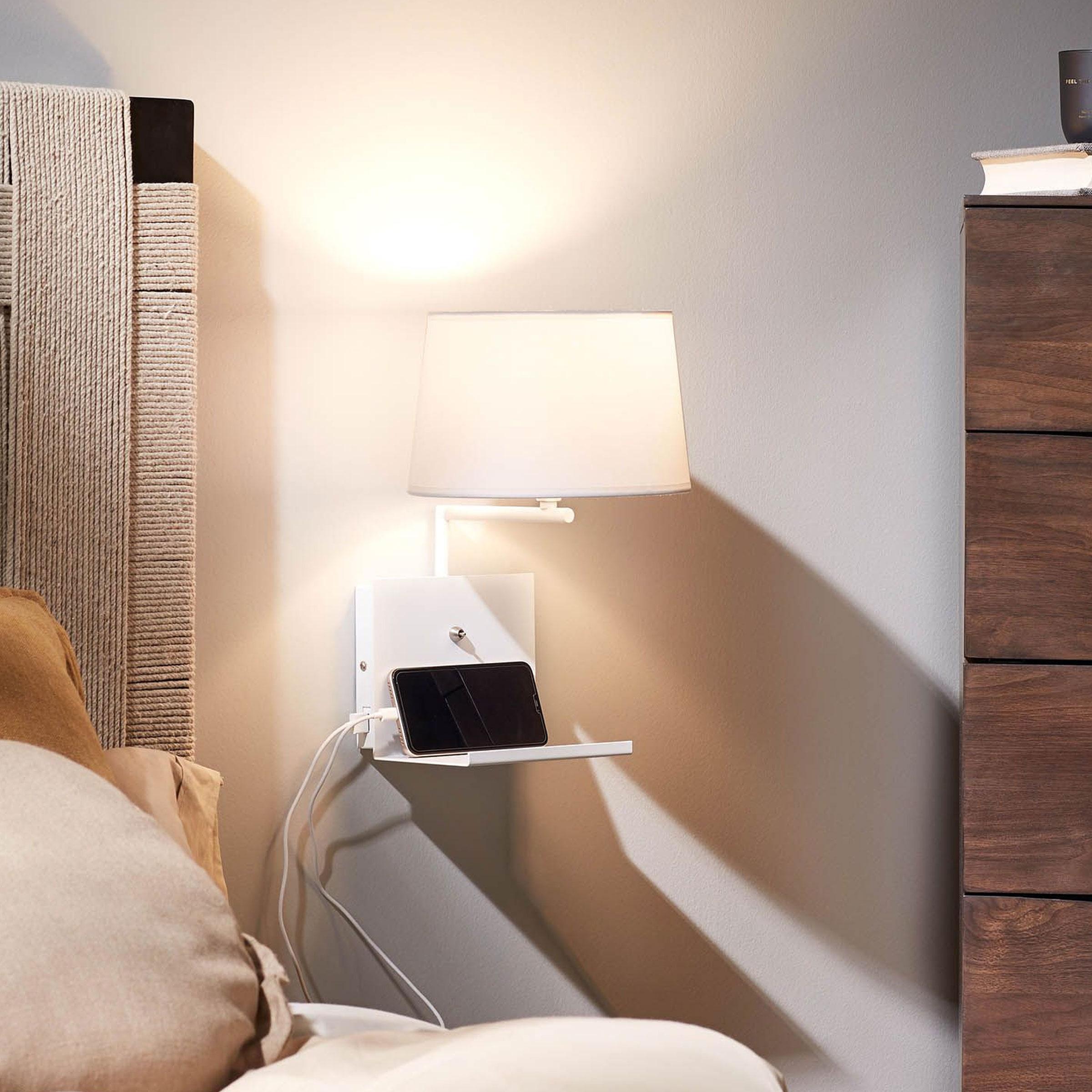 Kave Home Wandlamp 'Neala' met USB aansluiting, kleur Wit