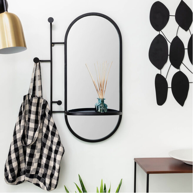 Kave Home Spiegel 'Zada' 82 x 52cm, kleur Zwart