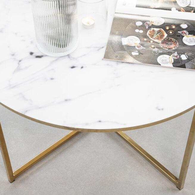 Sohome Salontafel 'Cay' wit marmer 80cm, kleur goud
