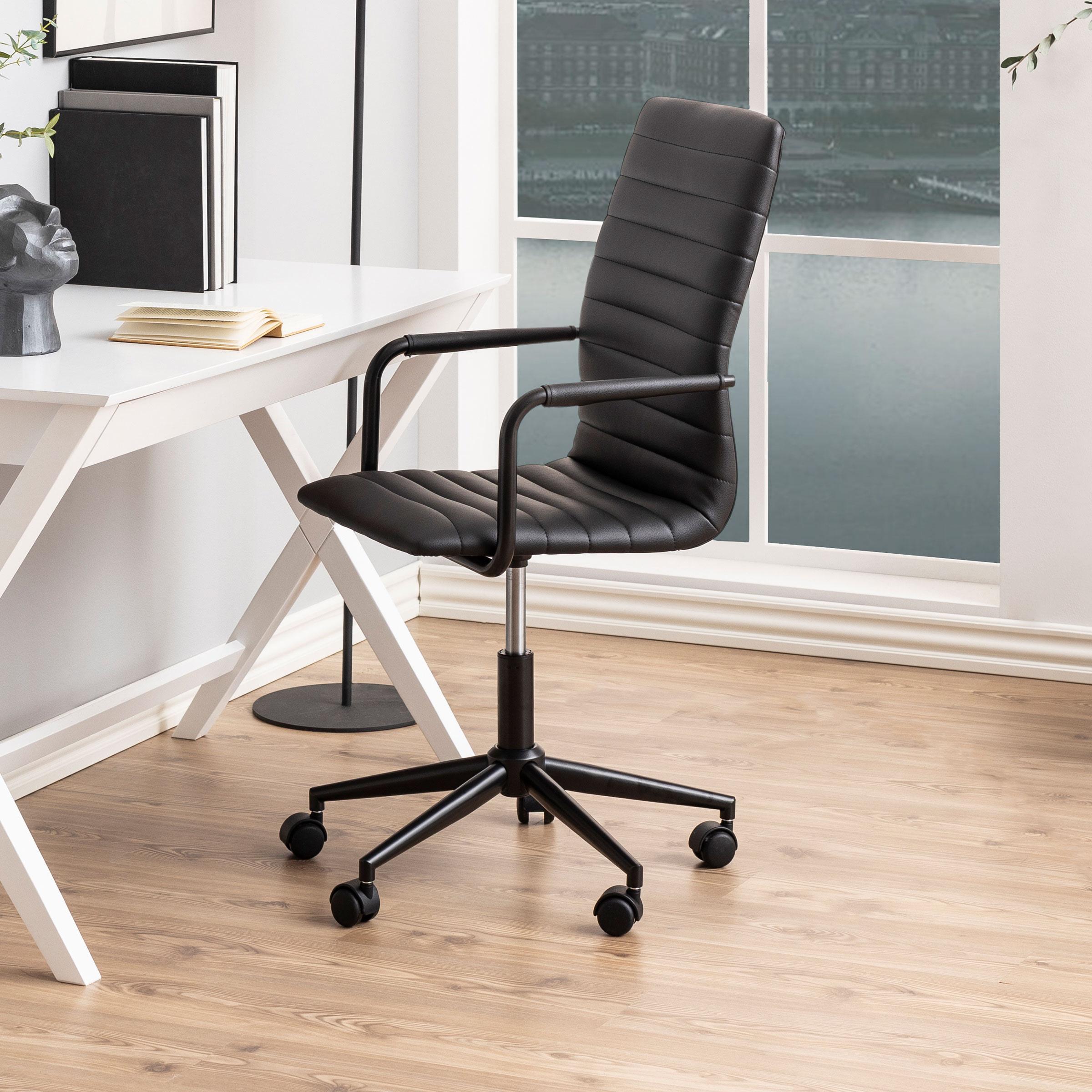 Bureaustoel 'Maria' PU-leder, kleur zwart