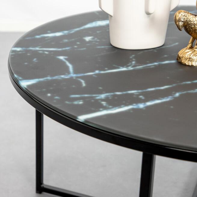 Sohome Ronde Salontafel 'Cay' 80cm glas met marmerlook, kleur zwart