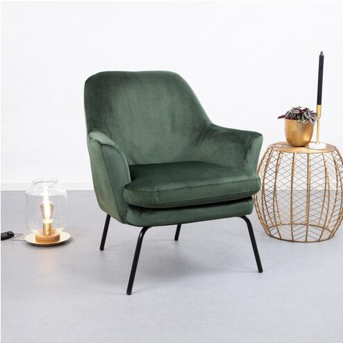 SoHome Fauteuil 'Kien' Velvet, kleur groen