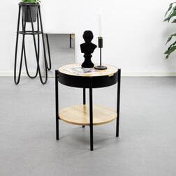 Bendt Ronde Bijzettafel 'Asbjørn' Eiken / zwart met opbergvak, 45cm