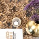 SoHome Ronde Salontafel 'Cay' Ø80cm Bruin Marmer, onderstel goud