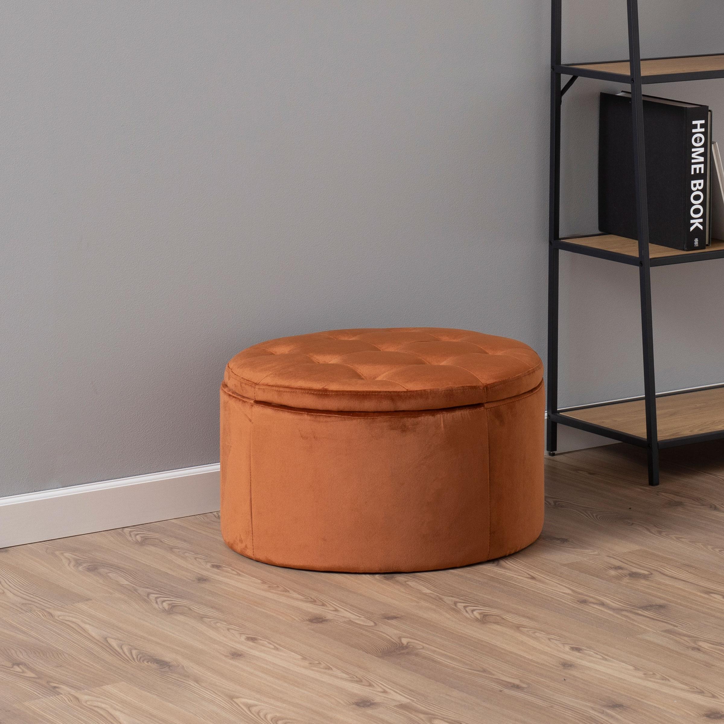 Bendt Poef 'Elith' Velvet, 60cm, kleur Copper