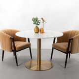 Sohome Ronde Eettafel 'Naima' 105cm, kleur Wit Marmer/Brass