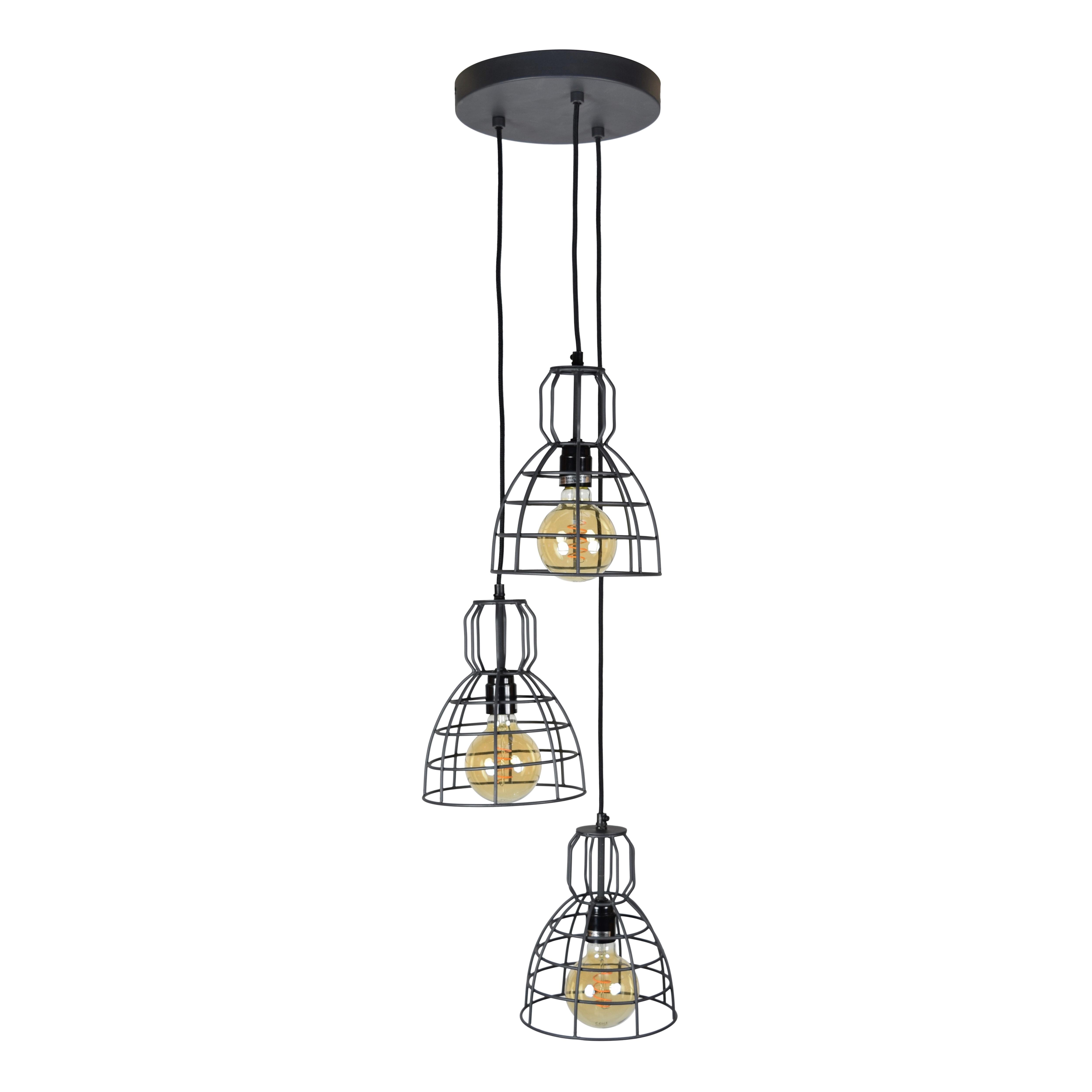 Urban Interiors hanglamp 3-lichts, kleur Vintage Black Verlichting   Hanglampen vergelijken doe je het voordeligst hier bij Meubelpartner
