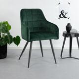 Tower Living Eetkamerstoel 'Silva' Velvet, kleur groen