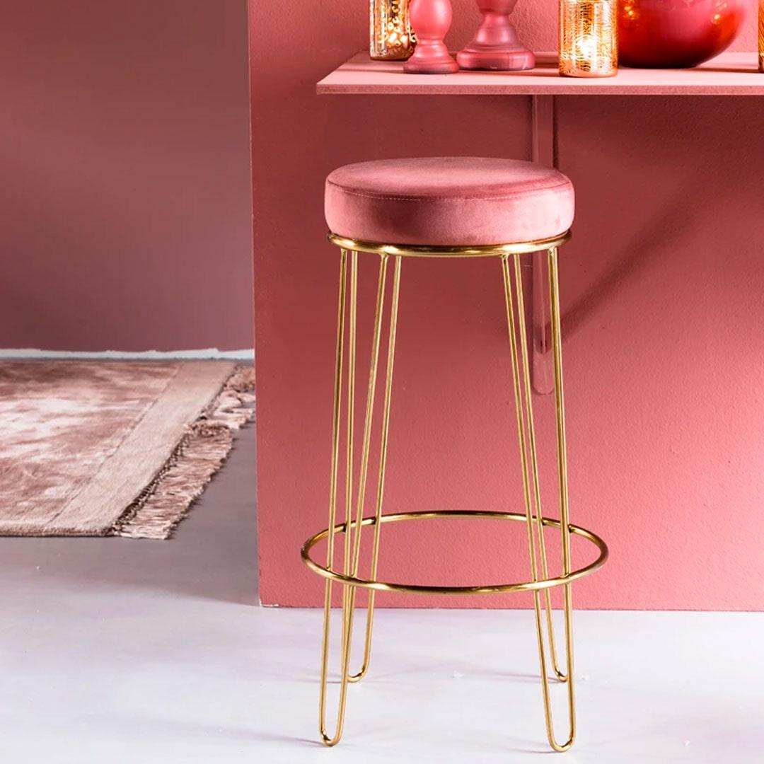 Light & Living Kruk 'Alice' (zithoogte 73cm) velvet oud roze+goud