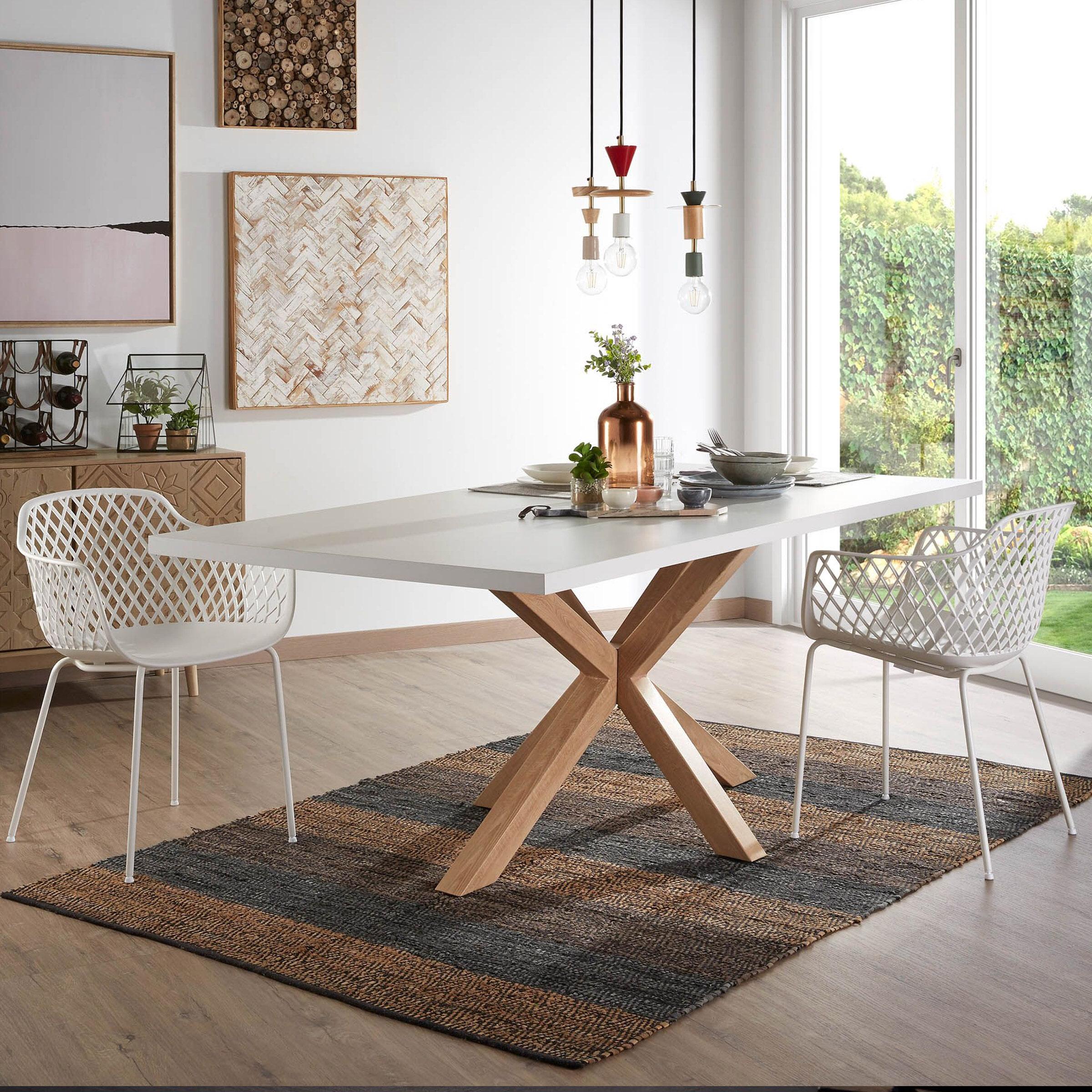 Kave Home Eettafel 'Argo' hout - wit, 200 x 100cm