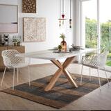 Kave Home Eettafel 'Argo' hout / wit, 200 x 100cm