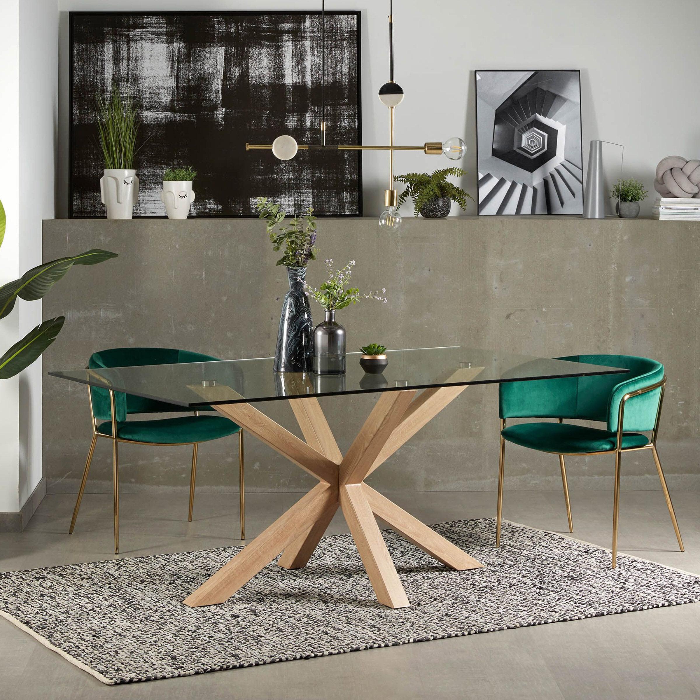Kave Home Eettafel 'Argo' hout - glas, 180 x 100cm
