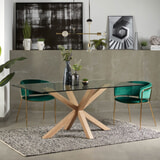 Kave Home Eettafel 'Argo' hout / glas, 180 x 100cm