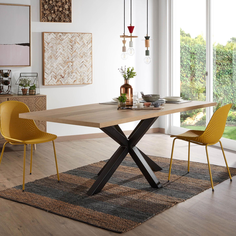 Kave Home Eettafel 'Argo' zwart - hout, 180 x 100cm