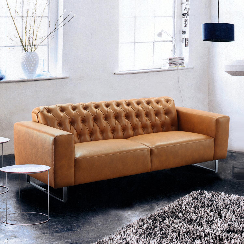 Bedwelming Artistiq Bank Jude 3-zits, kleur cognac - Artistiq Living - S-6013 #HG38