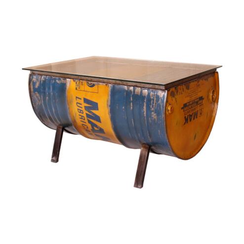 Artistiq Salontafel 'Drumline' 90 x 60cm, met glasplaat