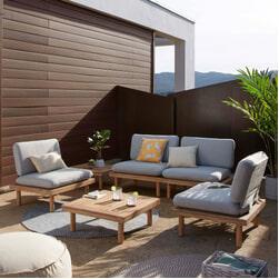 Kave Home Loungeset 'Viridis' 4 fauteuils + 2 tafels, Acaciahout