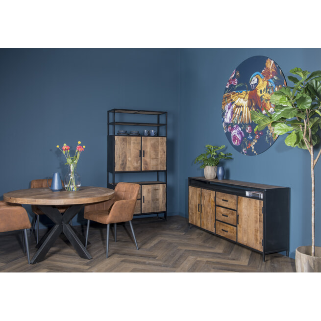 LivingFurn Dressoir 'Sturdy' kleur Naturel / Zwart, 180 cm