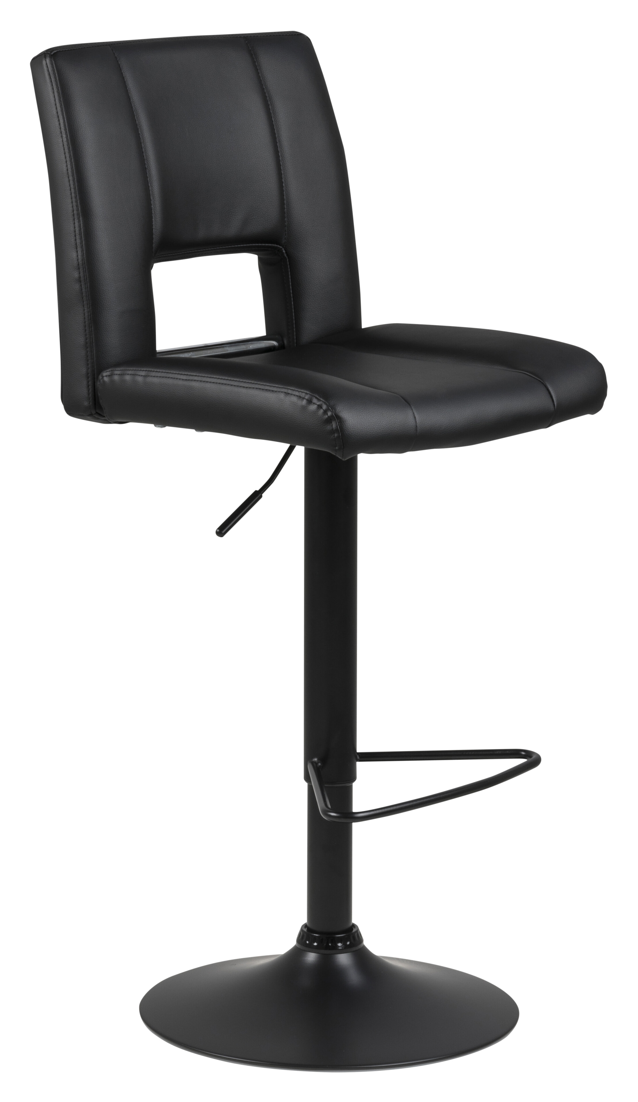 Bendt Barkruk 'Rut' (zithoogte 62 83cm), PU leder, kleur Zwart