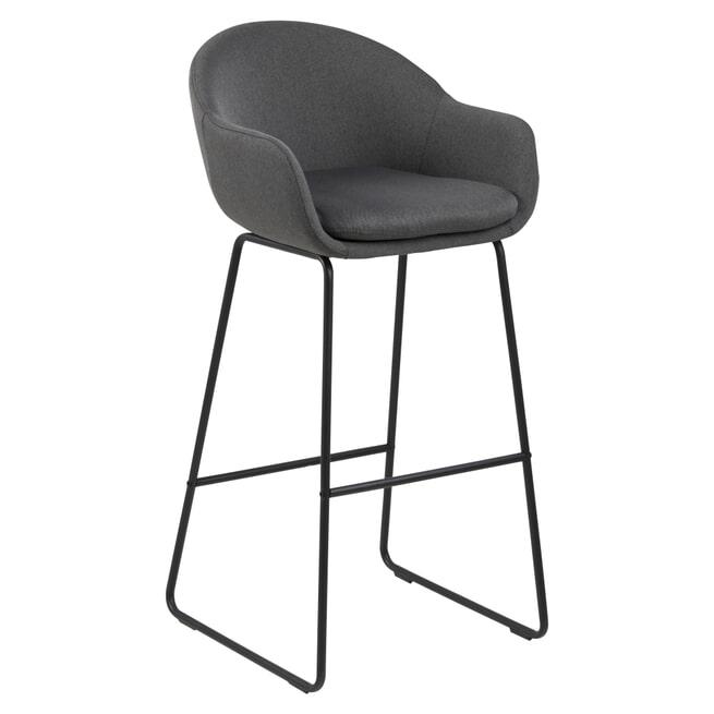Bendt Barkruk 'Teis' (zithoogte 79cm), kleur Donkergrijs