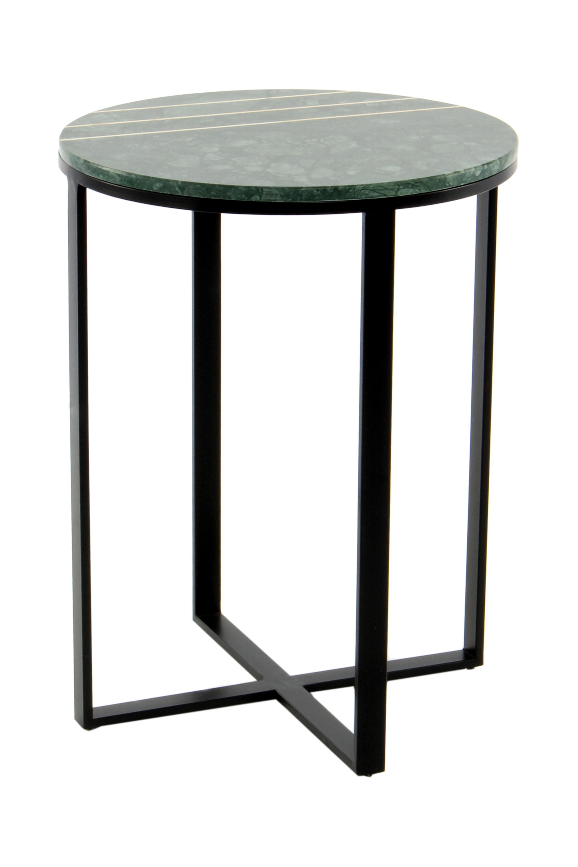Kayoom Bijzettafel 'Louis' Rond, Marmer en staal, kleur groen