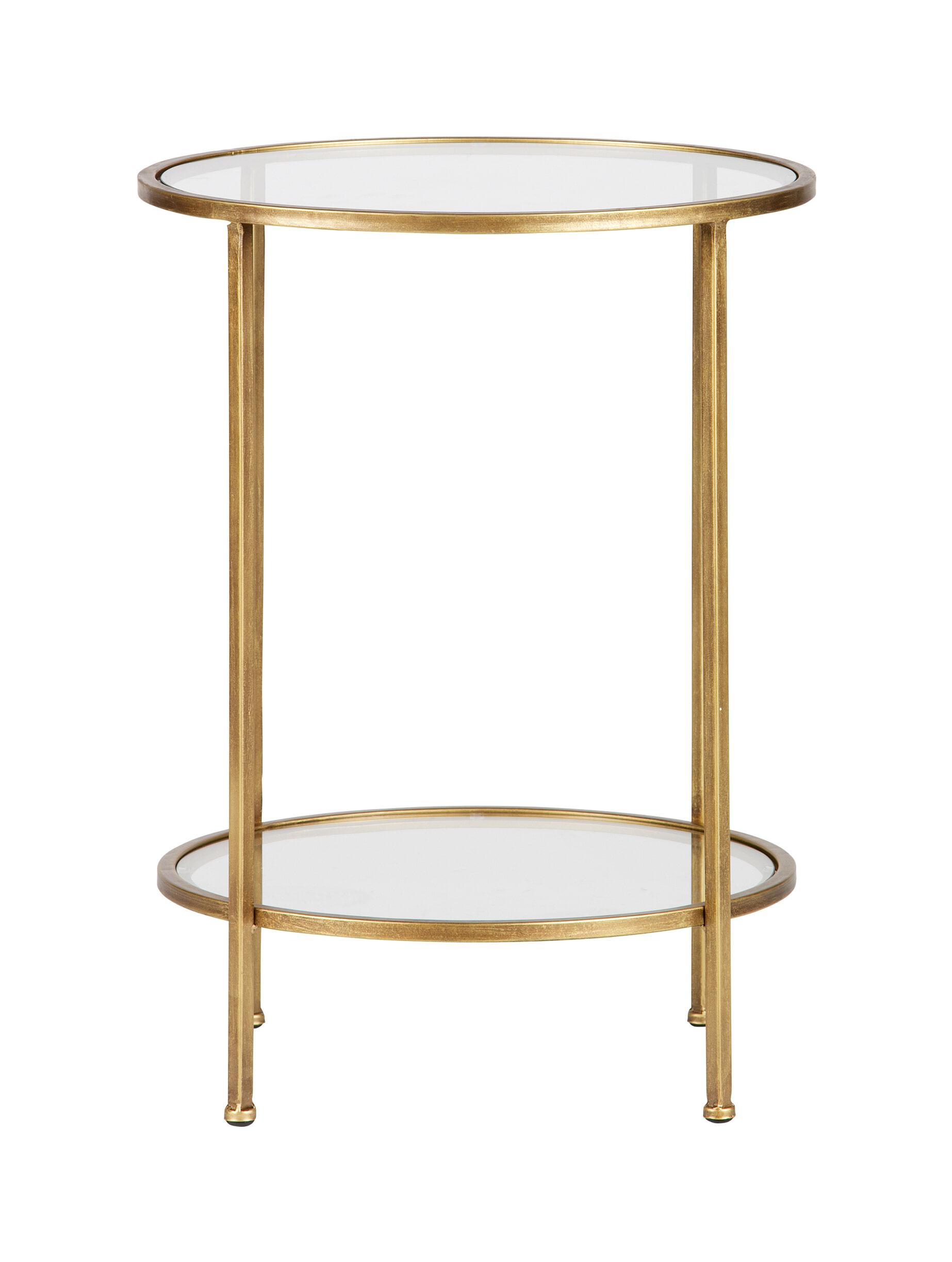 BePureHome Bijzettafel 'Goddess' 45,5cm, kleur Antique Brass Metaal met antieke afwerking en glas aanschaffen? Kijk hier!