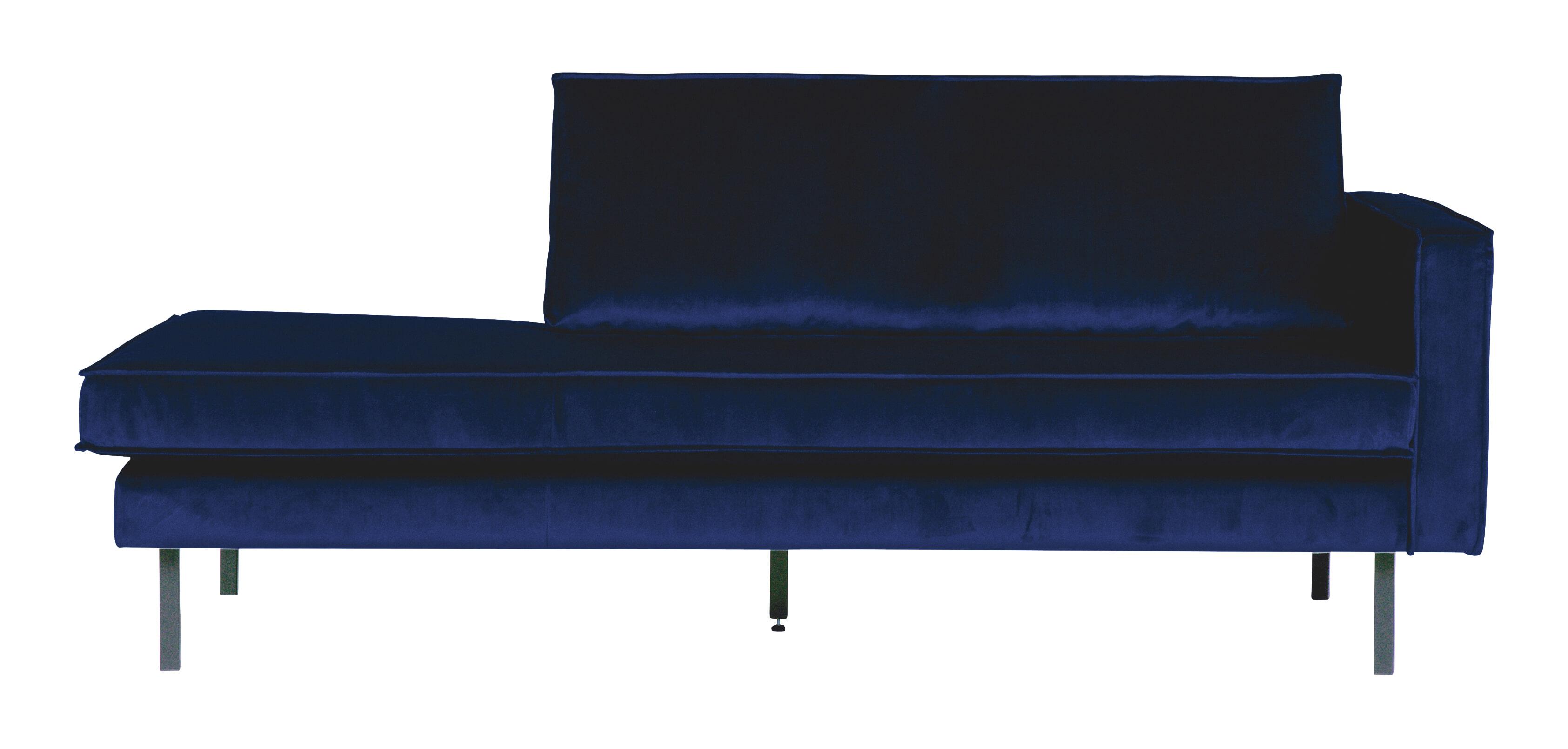 BePureHome Daybed 'Rodeo' Rechts, Velvet, kleur Donkerblauw