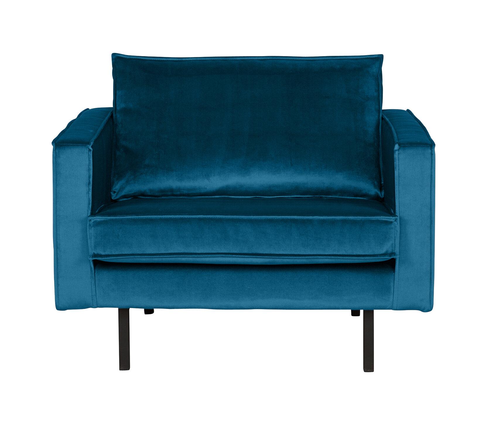 BePureHome Fauteuil 'Rodeo' Velvet, kleur Blauw Zitmeubelen | Fauteuils vergelijken doe je het voordeligst hier bij Meubelpartner
