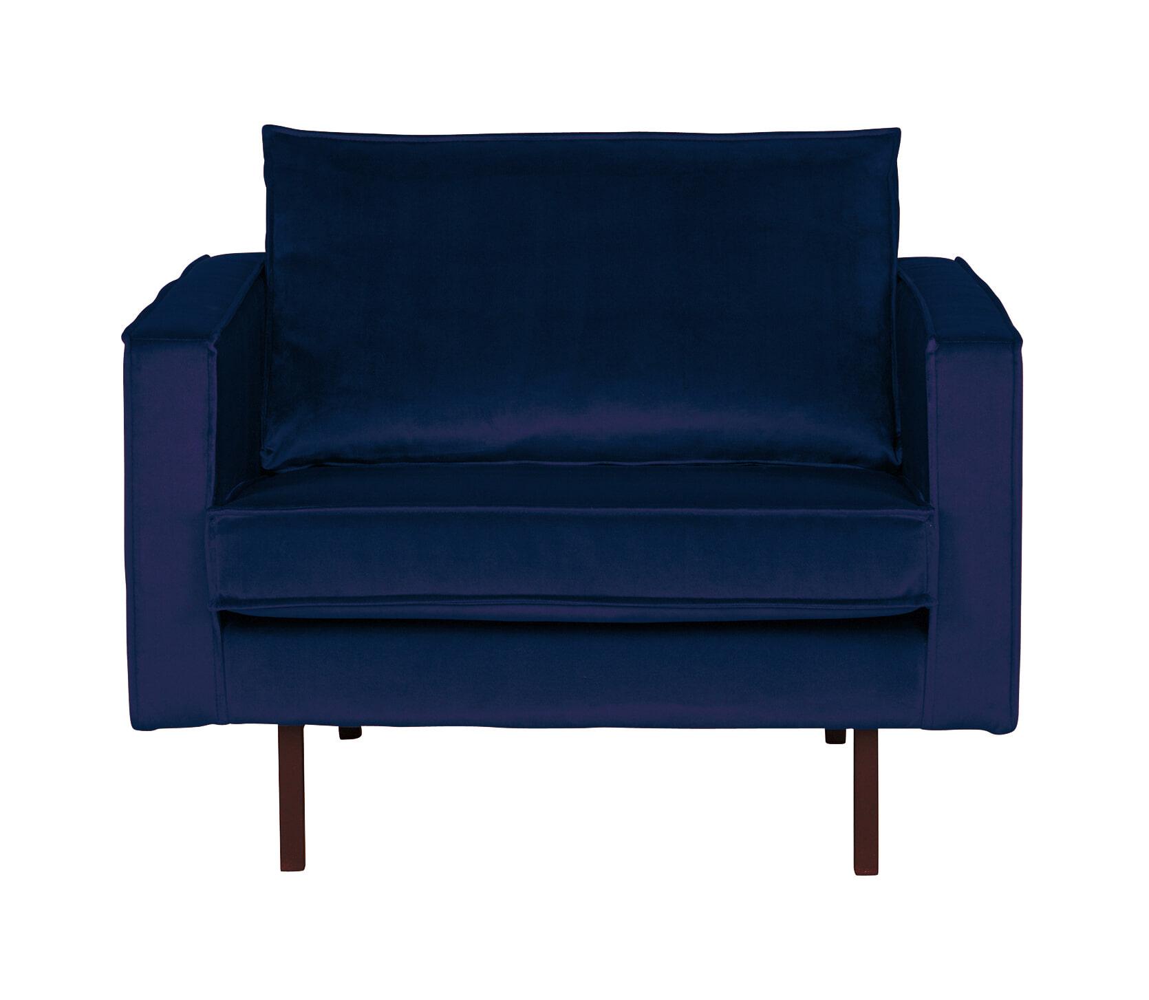 BePureHome Fauteuil 'Rodeo' Velvet, kleur Donkerblauw