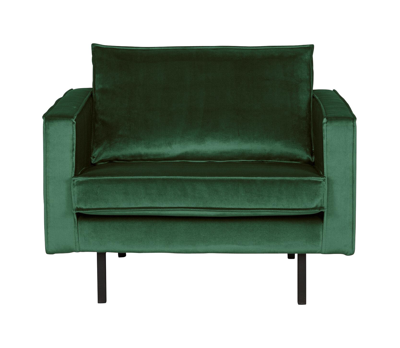 BePureHome Fauteuil 'Rodeo' Velvet, kleur Forest Green met voordeel snel in huis via Meubel Partner