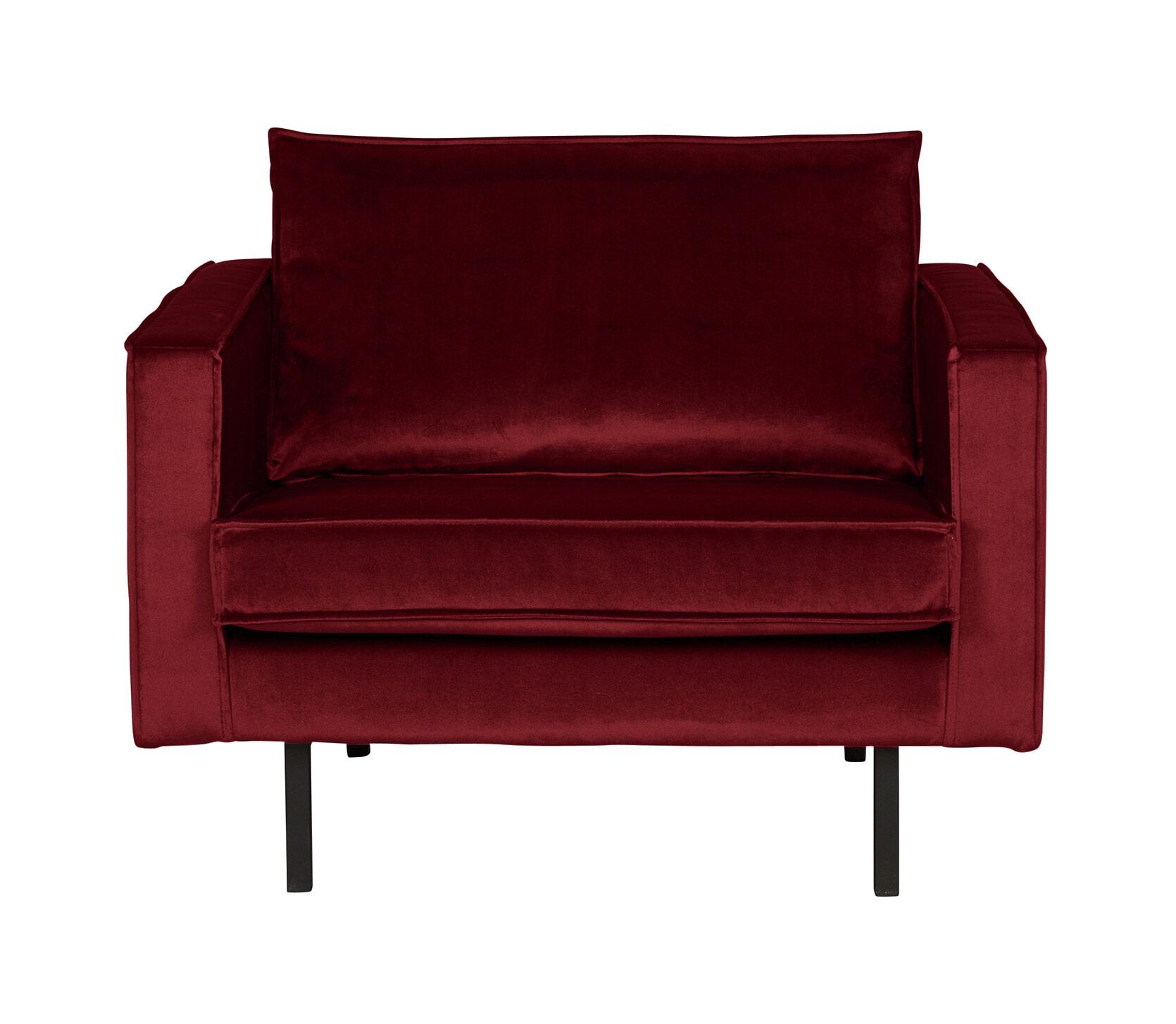 BePureHome Fauteuil 'Rodeo' Velvet, kleur Rood Zitmeubelen | Fauteuils vergelijken doe je het voordeligst hier bij Meubelpartner