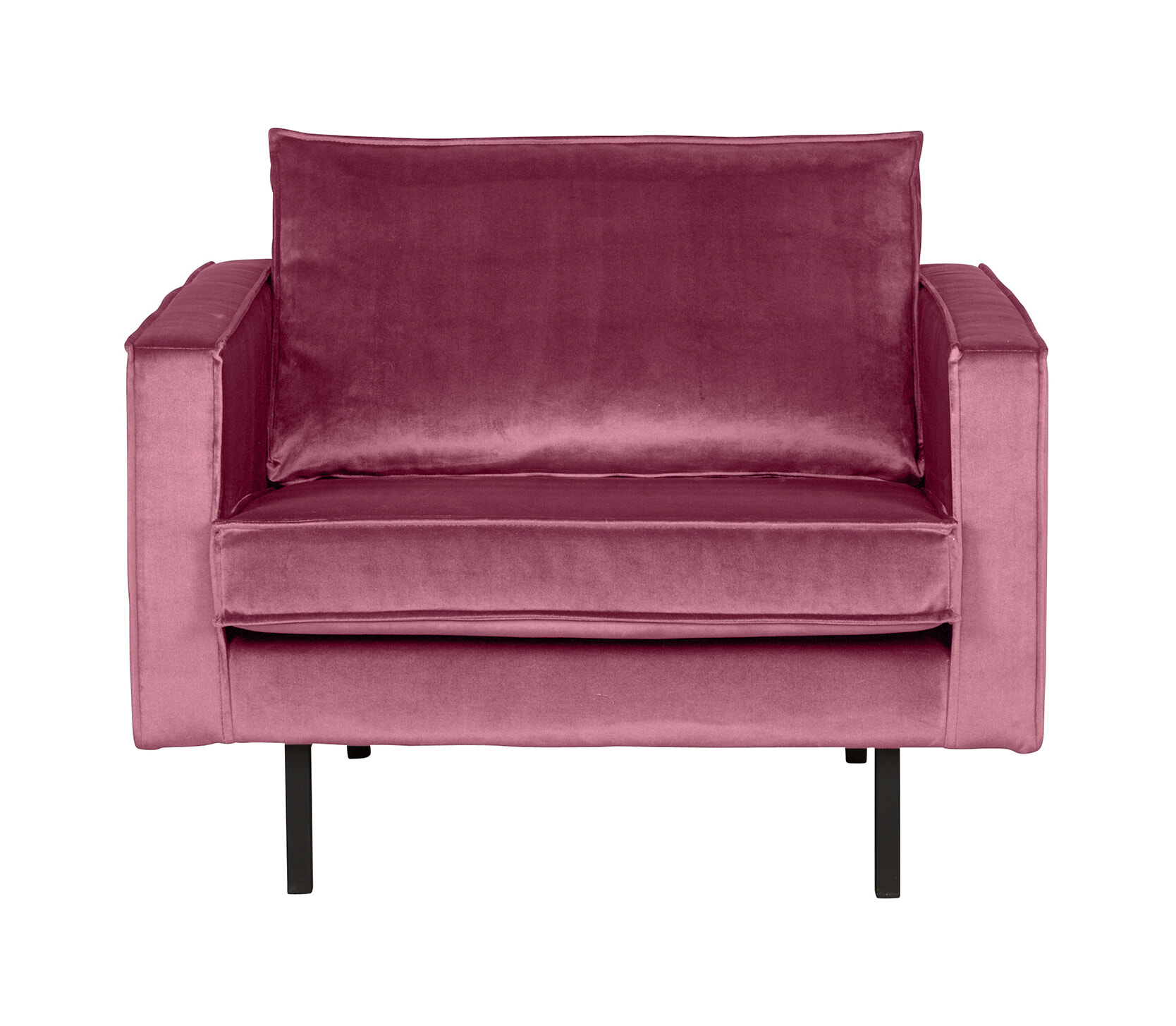 BePureHome Fauteuil 'Rodeo' Velvet, kleur Roze Zitmeubelen | Fauteuils vergelijken doe je het voordeligst hier bij Meubelpartner