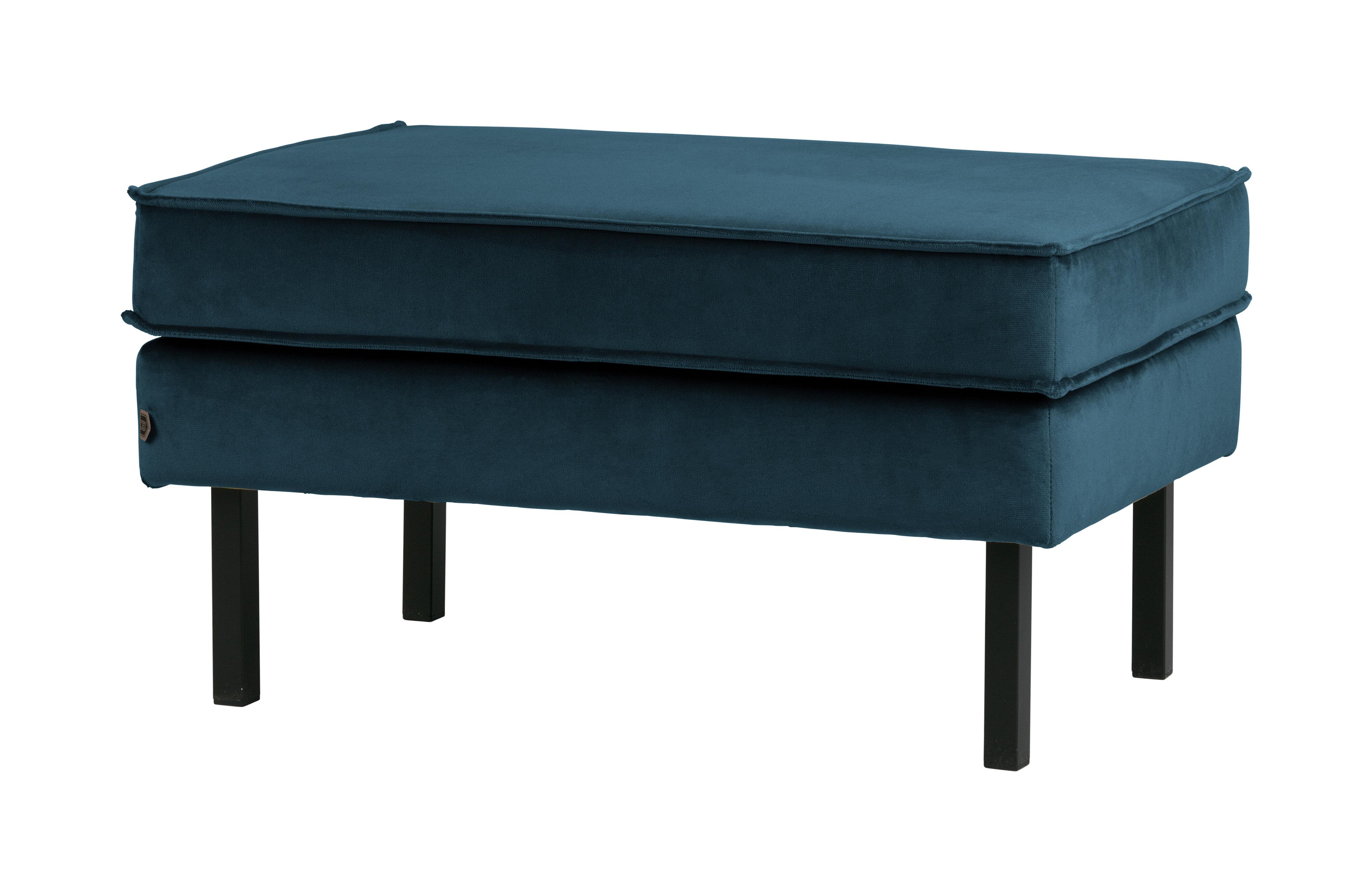 BePureHome Hocker 'Rodeo' Velvet, kleur Blauw Velvet (velours-textiel) 100% polyester aanschaffen? Kijk hier!