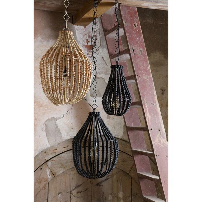 BePureHome Kroonluchter 'Funale' met houten kralen