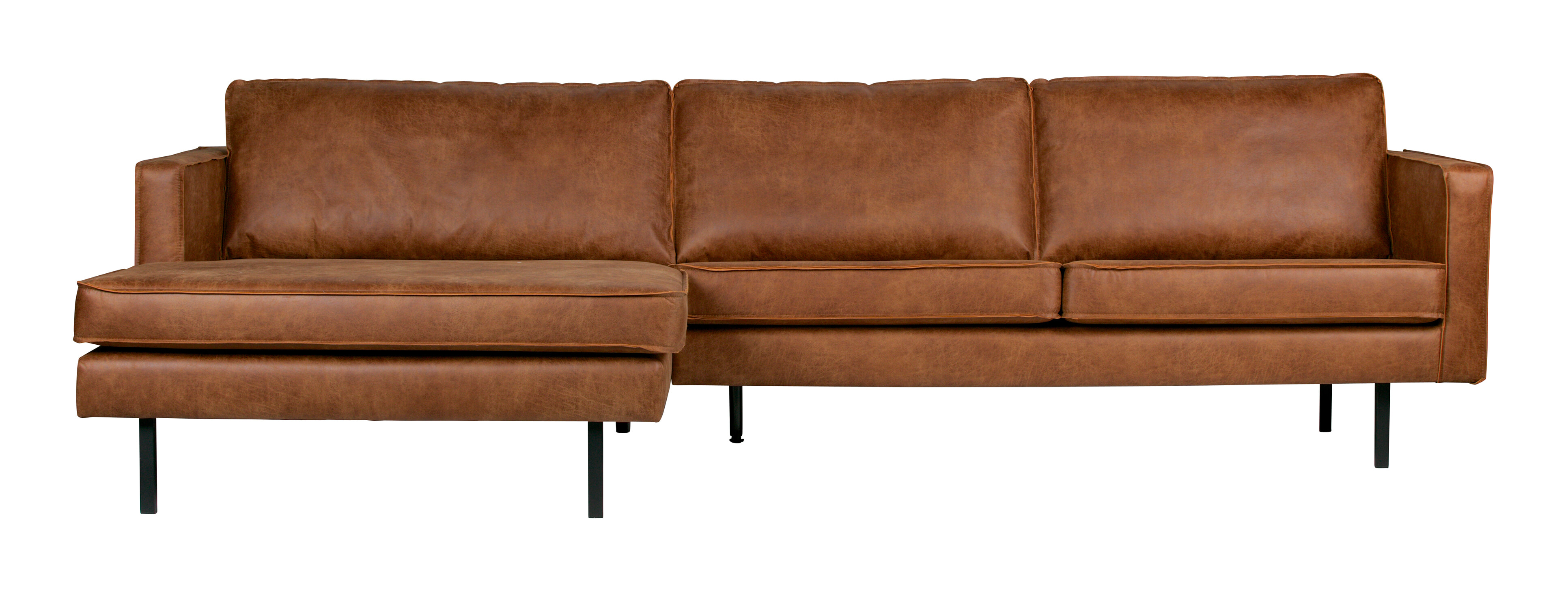 BePureHome Loungebank 'Rodeo' Links, Eco Leder, kleur Cognac