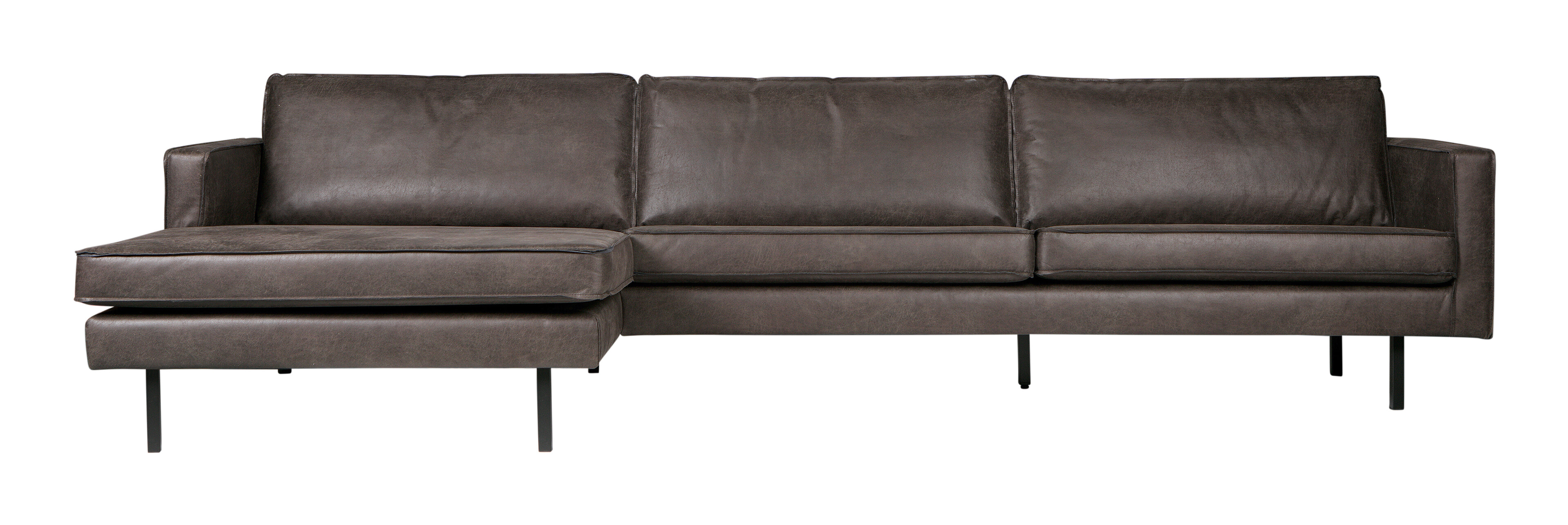 BePureHome Loungebank 'Rodeo' Links, Eco Leder, kleur Zwart Eco Leder: 70% leder en 30% polyester aanschaffen? Kijk hier!