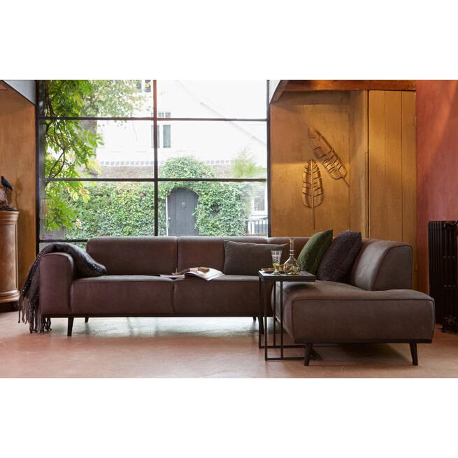 BePureHome Loungebank 'Statement' Rechts, Eco-leder, kleur grijs