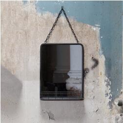 BePureHome Spiegel 'Speak' met ketting en rekje 46,5 x 35cm, kleur Zwart