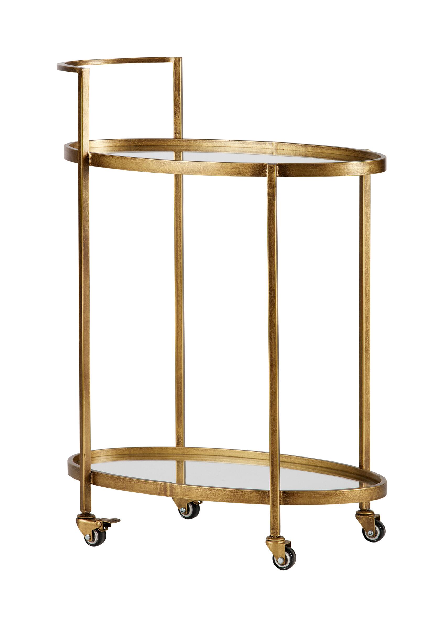 BePureHome Trolley 'Push' kleur Antique Brass Metaal met brass kleurige afwerking en bladen van glas aanschaffen? Kijk hier!