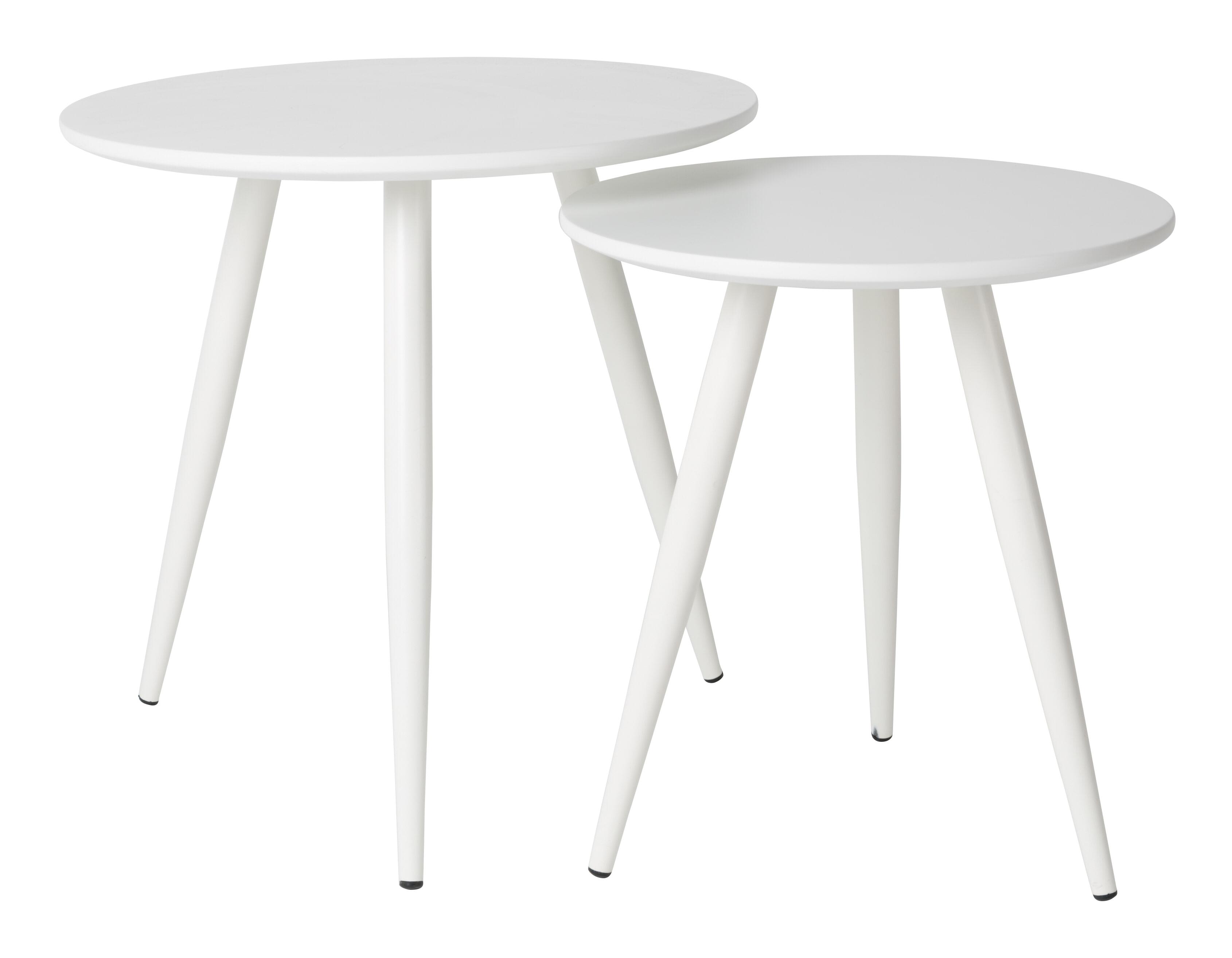 Bijzettafel 'Kevan' set van 2 stuks, kleur Wit