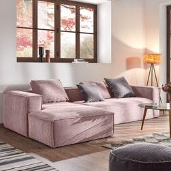 Kave Home Loungebank 'Blok' Rib, Links, kleur Roze